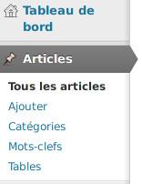 """Le plugin ajoute une nouvelle entrée nommée """"Tables"""" au sein du menu dénommé """"Articles"""" de WordPress."""