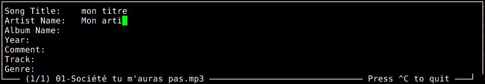 mp3info en mode interactif permet de modifer le tag id3 d'un fichier mp3