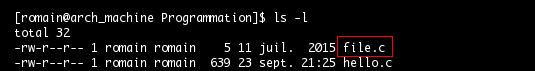 Commande ls, nom du fichier