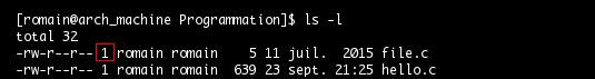 Commande ls : affichage du nombre de liens symboliques