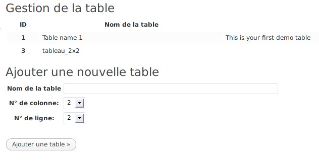 Creation Tableau dans wordpress avec le plugin WP-Table