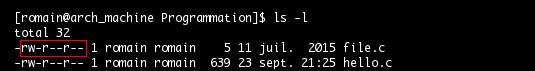 Commande ls, permissions accès