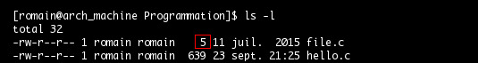 Commande ls, taille du fichier