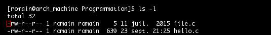 Commande ls,  type de fichier ordinaire